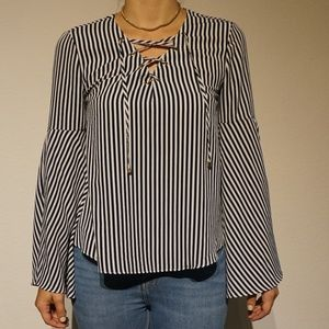 White and Blue Stripe Shirt with wide sleeves